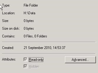 Hidden folder - Greyed out attribute
