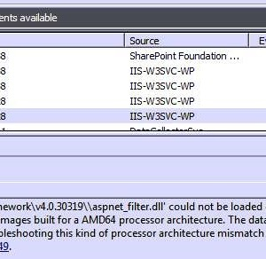 Sharepoint ISAPI Filter could not be loaded